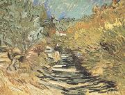 A Road at Sain-Remy with Female Figure (nn04) Vincent Van Gogh
