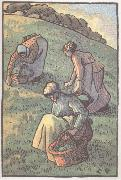 Women herb gathering from Work in the field Camille Pissarro