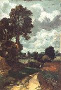 A country lane,with a church in the distance John Constable