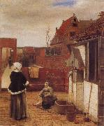 A Woman and her Maid in  Courtyard Pieter de Hooch