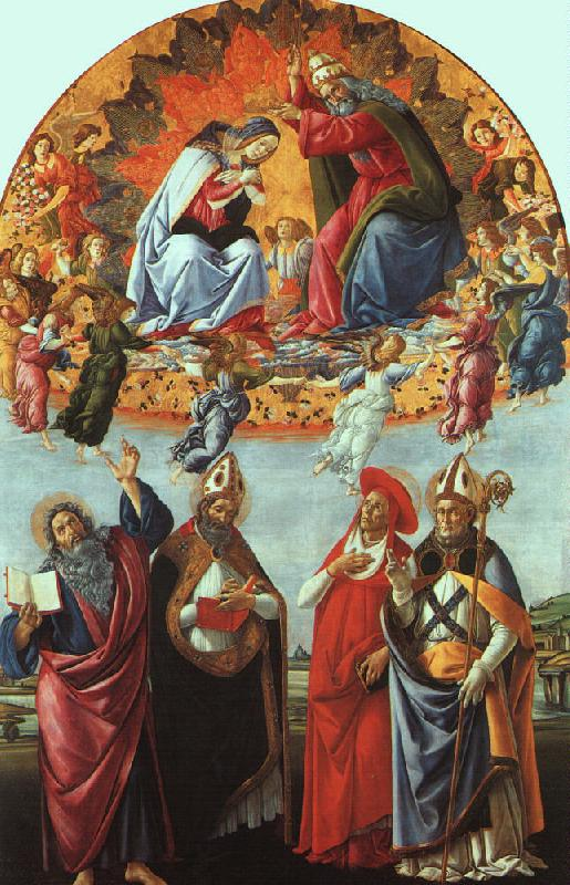 BOTTICELLI, Sandro The Coronation of the Virgin (San Marco Altarpiece) gfh