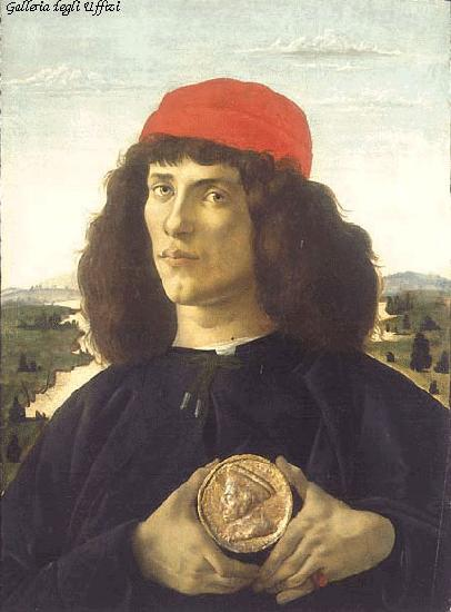 BOTTICELLI, Sandro Portrait of an Unknown Personage with the Medal of Cosimo il Vecchio  fdgd