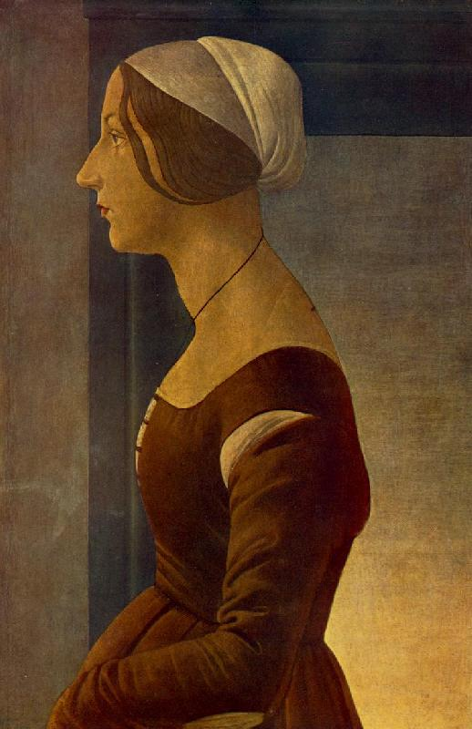 BOTTICELLI, Sandro Portrait of a Young Woman (La bella Simonetta) fs
