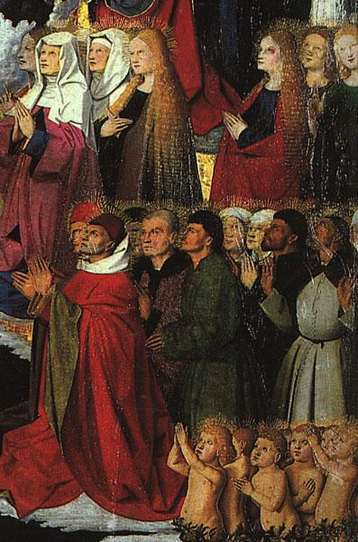 CHARONTON, Enguerrand The Coronation of the Virgin, detail: the crowd iyu