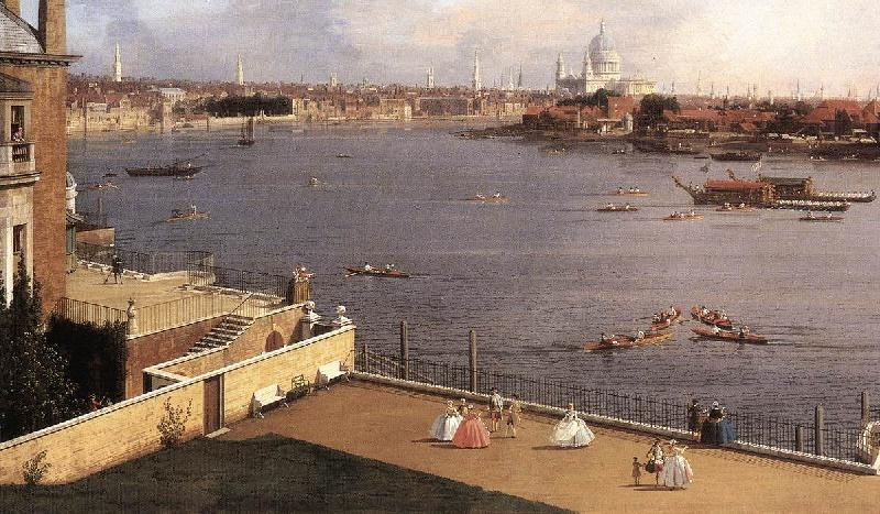 Canaletto London: The Thames and the City of London from Richmond House (detail) d