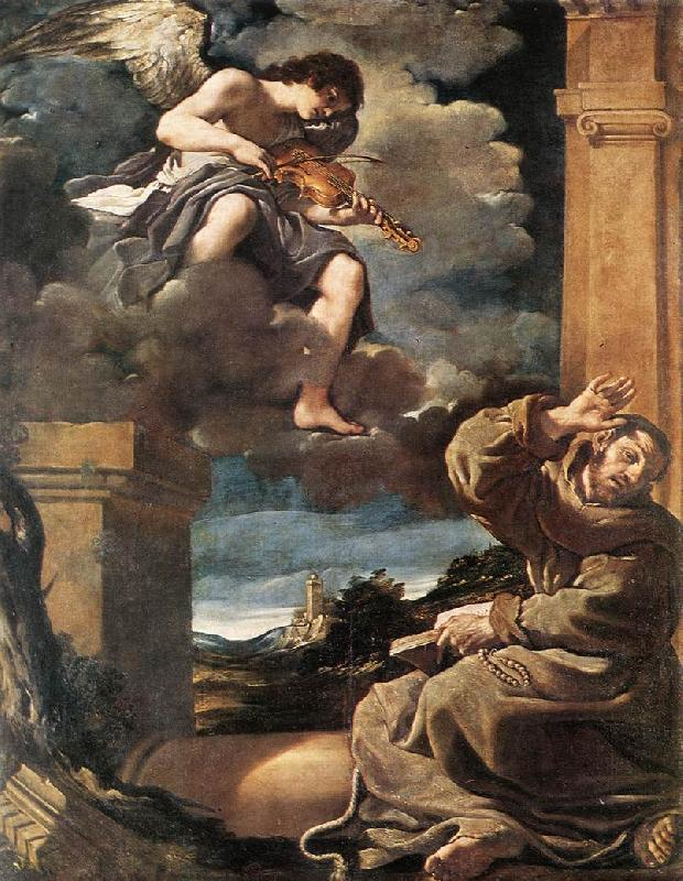 GUERCINO St Francis with an Angel Playing Violin sdg