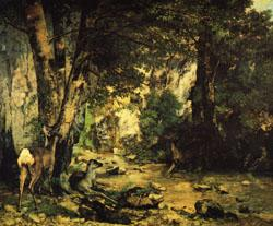 Gustave Courbet A Thicket of Deer at the Stream of Plaisir-Fontaine
