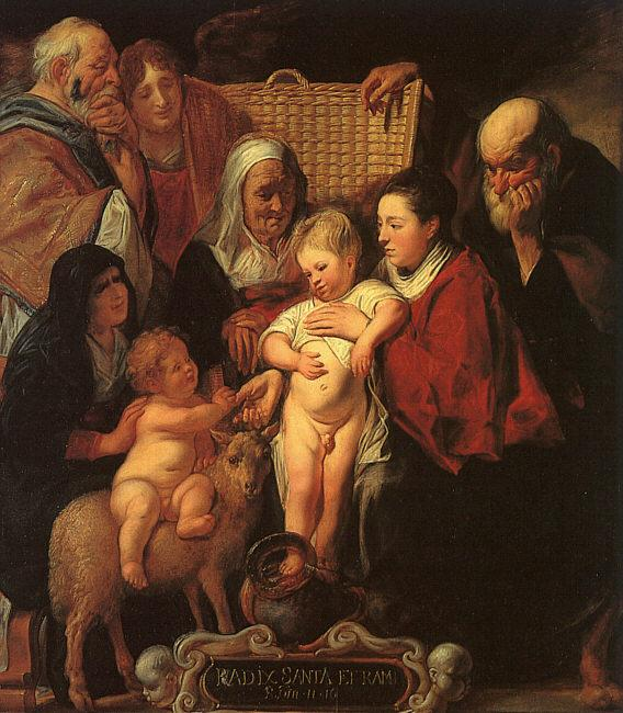 Jacob Jordaens The Holy Family with St.Anne, the Young Baptist and his Parents