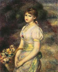 Pierre Renoir Young Girl with Flowers