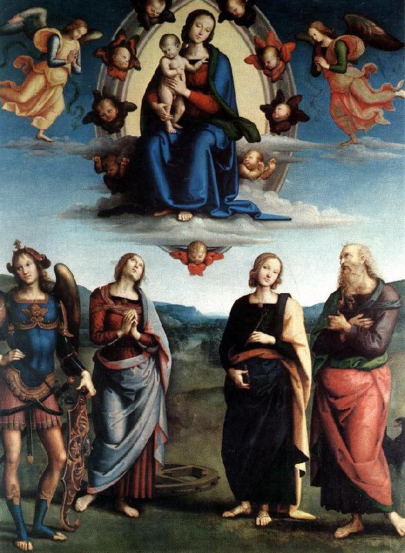 PERUGINO, Pietro Madonna in Glory with the Child and Saints f