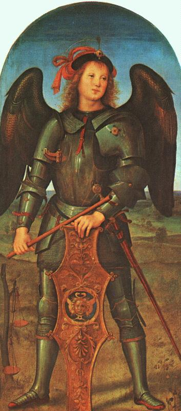 PERUGINO, Pietro St. Michael (Panel of the Polytych of Certosa di Pavia) ag