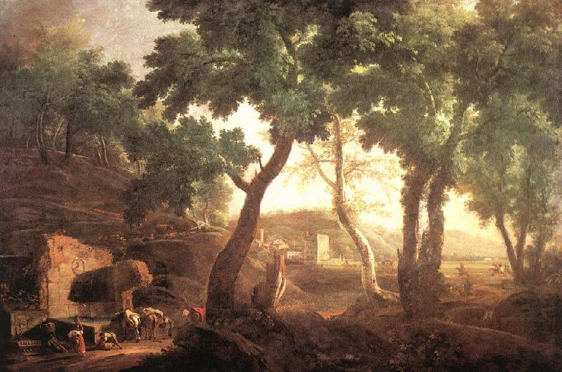 RICCI, Marco Landscape with Watering Horses