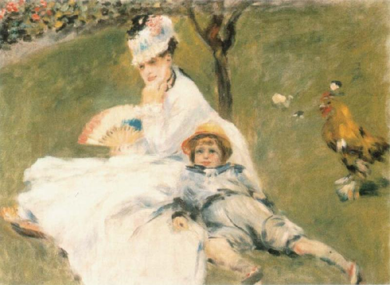Pierre-Auguste Renoir Camille Monet and Her son Jean in the Garden at Arenteuil