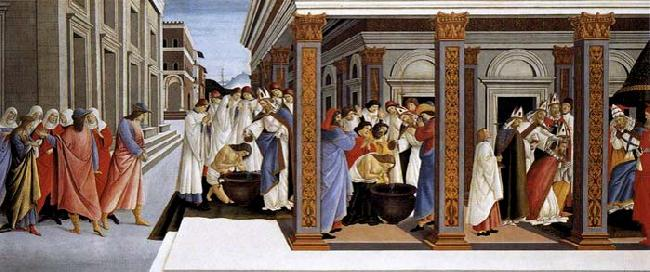 BOTTICELLI, Sandro Baptism of St Zenobius and His Appointment as Bishop