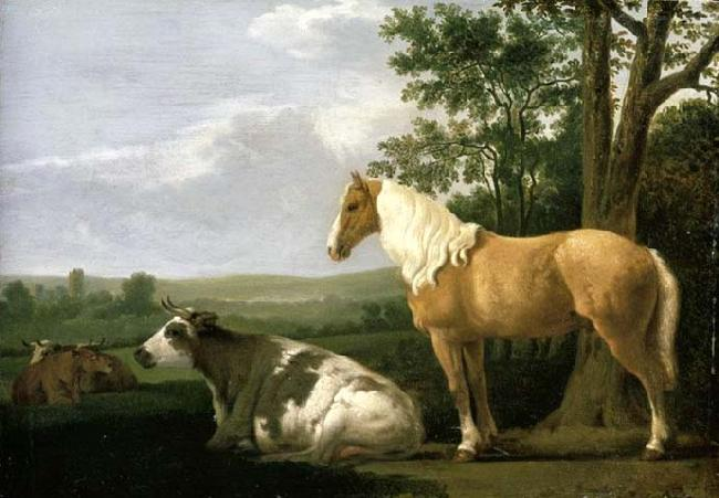 CALRAET, Abraham van A Horse and Cows in a Landscape