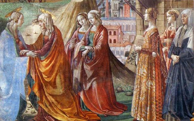 GHIRLANDAIO, Domenico Detail of Visitation
