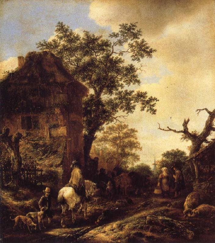 OSTADE, Isaack van The Outskirts of a Village,with a Horseman