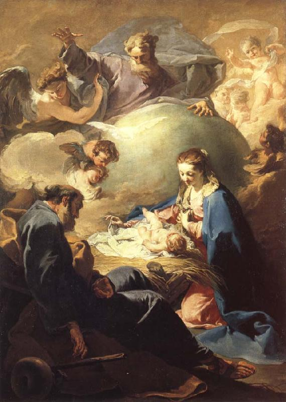 PELLEGRINI, Giovanni Antonio The Nativity with God the Father and the Holy Ghost
