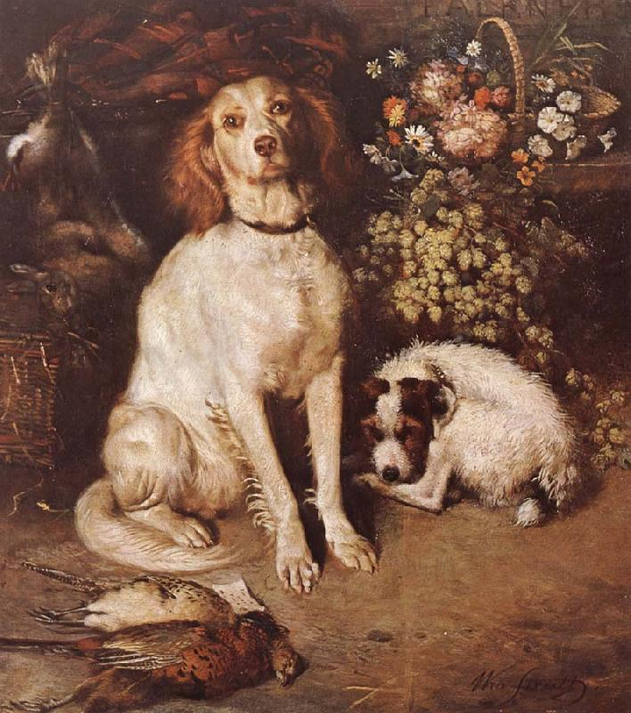 William Strutt Dogs with Flowers and game