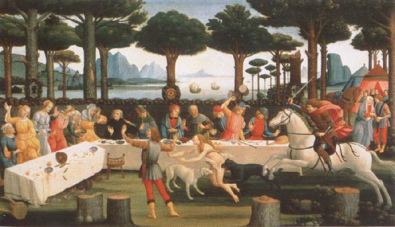 Sandro Botticelli workshop picture out of the series the story of the Anastasius degli Onesti