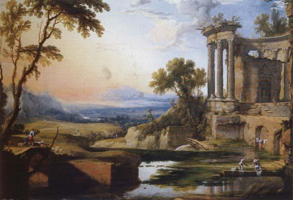 Pierre Patel Landscape with a Colonnade,Washerwomen and Shepherds