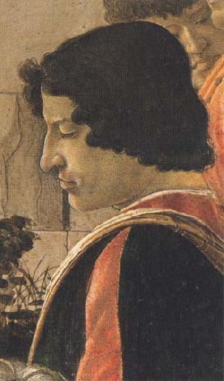 Sandro Botticelli Man in a short black tunic,standing on the right