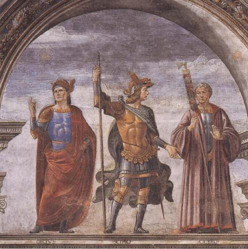 Sandro Botticelli Domenico Ghirlandaio and Assistants,The Roman heroes Decius Mure,Scipio and Cicero