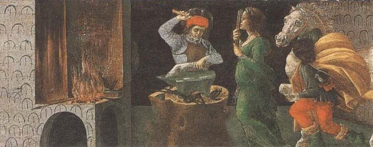 Sandro Botticelli St Eligius shoeing the detached leg of a horse