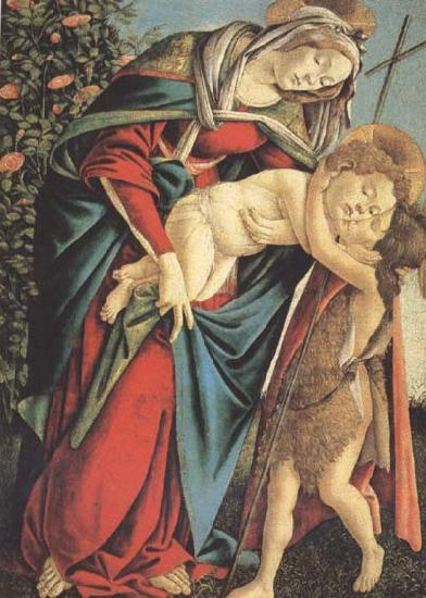 Sandro Botticelli Madonna and child with the Young St John or Madonna of the Rose Garden
