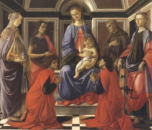 Sandro Botticelli Madonna enthroned with Child and Saints (Mary Magdalene,John the Baptist,Cosmas and Damien,Sts Francis and Catherine of Alexandria)