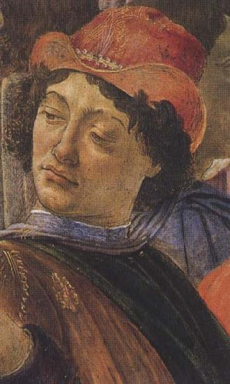 Sandro Botticelli Personage wearing a green mantle third in the group on the left