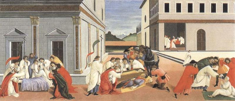 Sandro Botticelli Three miracles of St Zanobius,reviving the dead