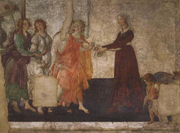 Sandro Botticelli Venus and the Graces offering gifts to a youg woman