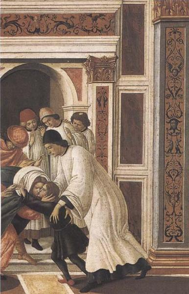 Sandro Botticelli Stories of St Zanobius Last Miracle:dead child revived by the Deacons Eugenius and Crescentius