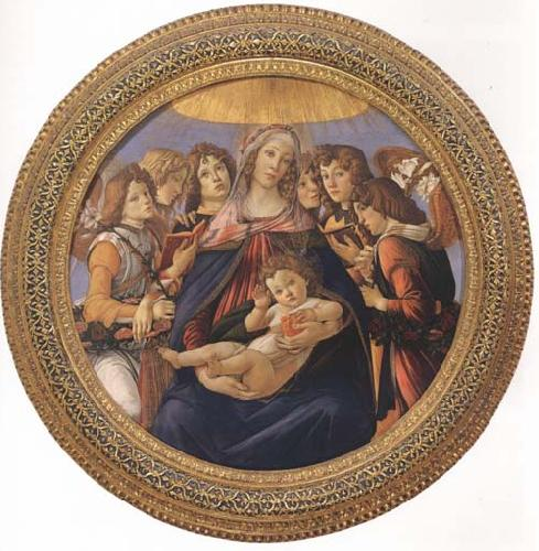 Sandro Botticelli Madonna and child with six Angels or Madonna of the Pomegranate