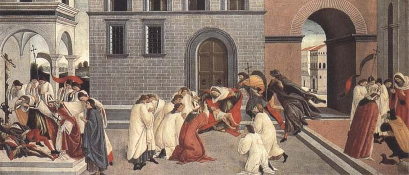 Sandro Botticelli Three Miracles of St Zanobius:driving the demon out of two youths,reviving a dead child,restoring sight to a blind man