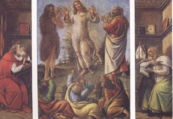 Sandro Botticelli Transfiguration,with St Jerome(at left) and St Augustine(at right)