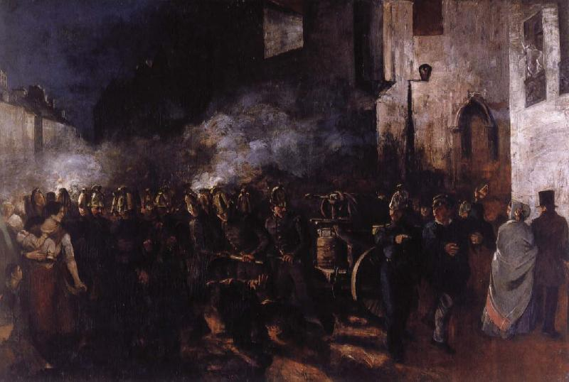 Gustave Courbet Firemen Running to a Fire