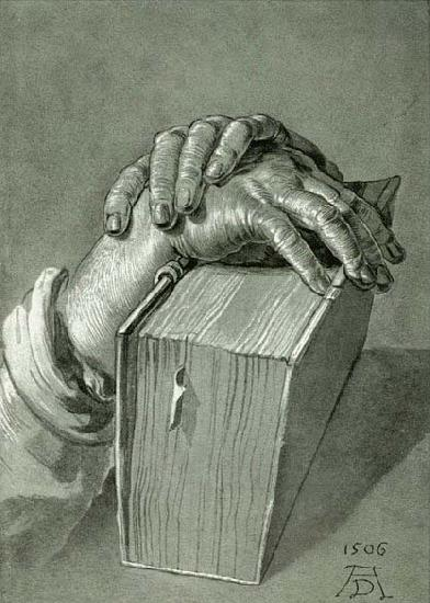 Albrecht Durer Hand Study with Bible - Drawing