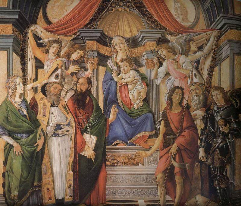Sandro Botticelli Son with six saints of Notre Dame