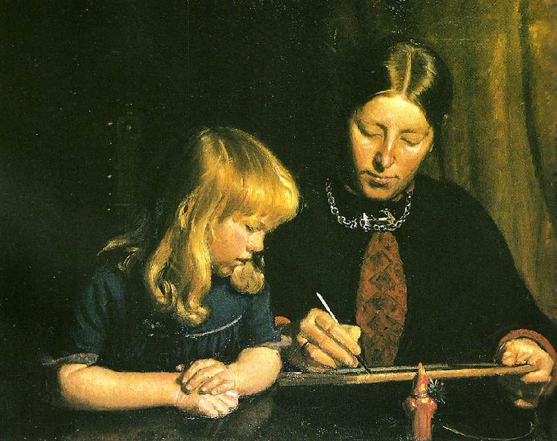 Michael Ancher anna ancher lcerer sin datter helga at tegne