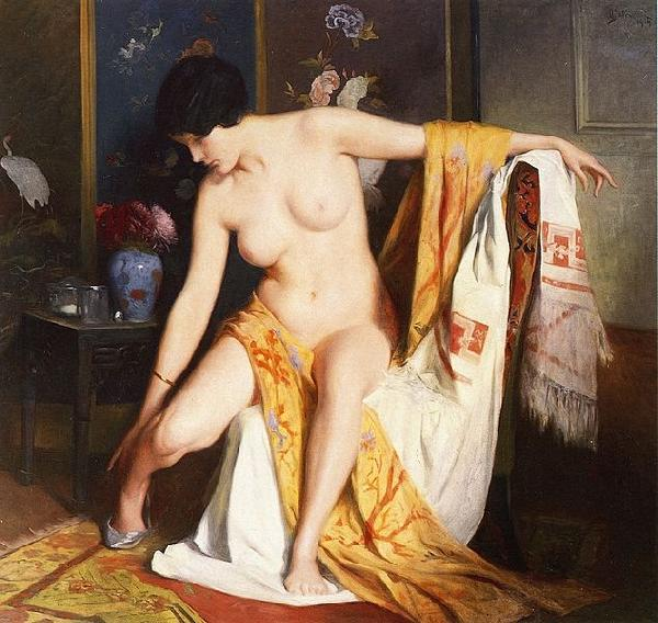 Julius L.Stewart Nude in an Interior