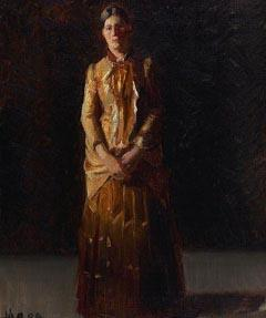 Michael Ancher Portrait of Anna Ancher Standing in a Yellow Dress by her husband Michael Ancher