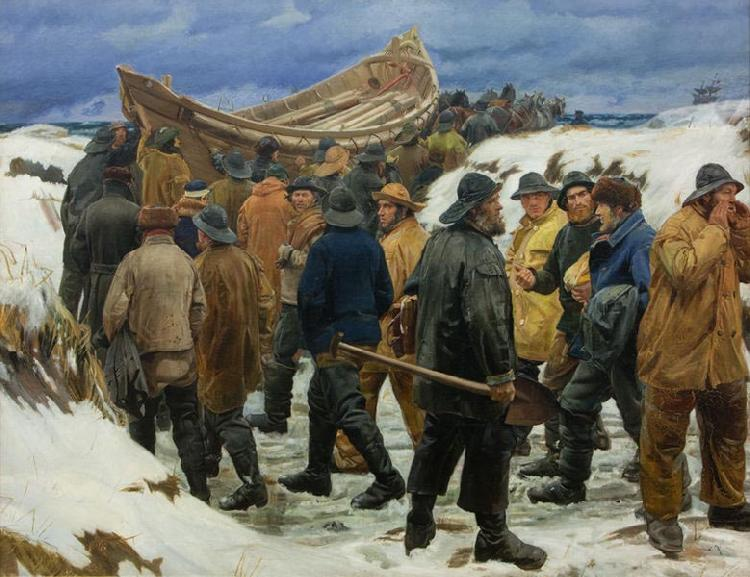 Michael Ancher The Lifeboat is Taken through the Dunes