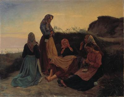 Michael Ancher Girls gathered on Sladrebakken a summernight eve