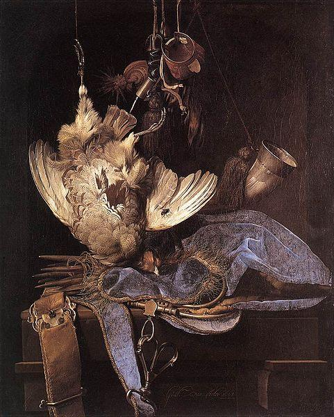 Aelst, Willem van Still Life with Hunting Equipment and Dead Birds