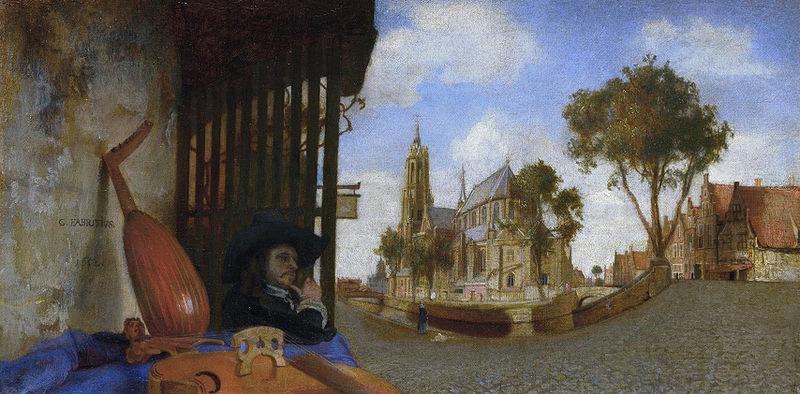 Carel fabritius A View of Delft, with a Musical Instrument Seller's Stall