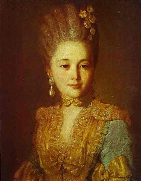 Fyodor Rokotov Portrait of an Unknown Woman in a Blue Dress with Yellow Trimmings