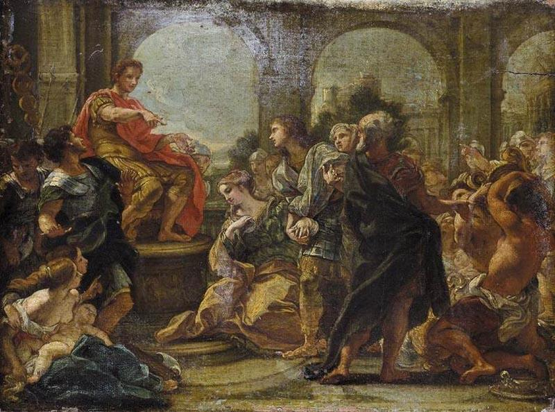 Giovanni Battista Gaulli Called Baccicio Painting depicting historical episode between Scipio Africanus and Allucius
