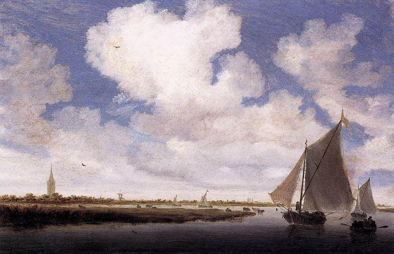 Salomon van Ruysdael Sailboats on the Wijkermeer
